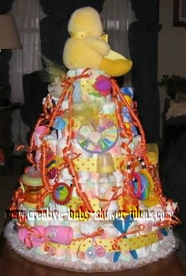 other side of duck baby shower diaper cake