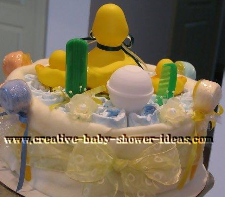 back of duck baby shower diaper cake