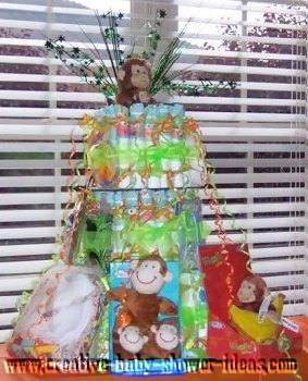 colorful green monkeys diaper cake