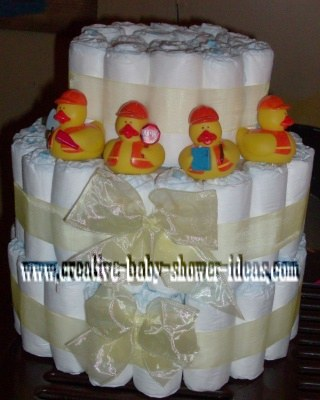 3 tier construction ducks diaper cake