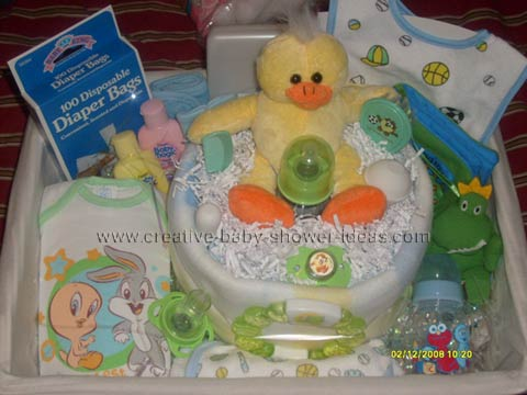 yellow duck blanket diaper cake