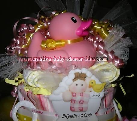pink rubber duck diaper cake