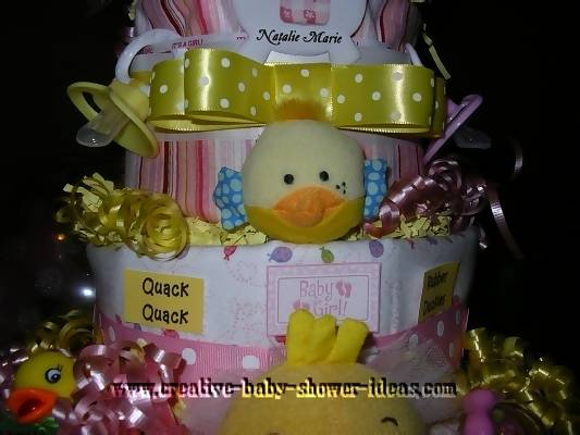 closeup of middle layers of duck diaper cake