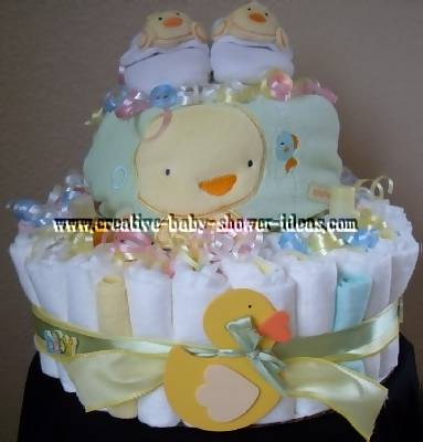 yellow and green duck diaper cake
