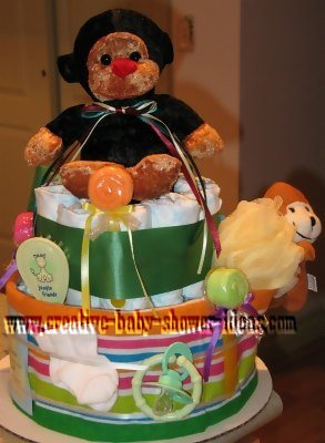 green stripes monkey diaper cake