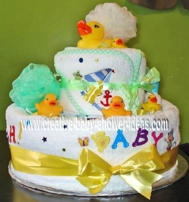 baby bathtime duck diaper cake