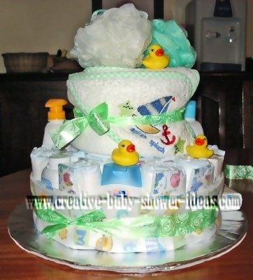 back of baby shower duck diaper cake