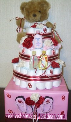pink and red ou sports diaper cake