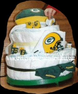 green bay packers football diaper cakes