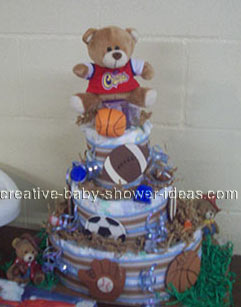 sports ball bear diaper cake