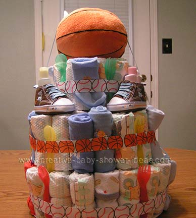 baby basketball diaper cake