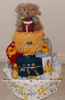 teddy sports onesie diaper cake