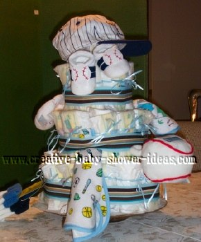 baseball diaper cake with cute sport baby clothing
