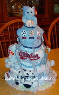 cute allstar baby shower diaper cake
