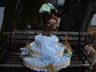 monkey and safari animals diapers cake