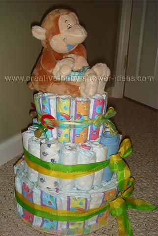 side of giggling monkey diaper cake