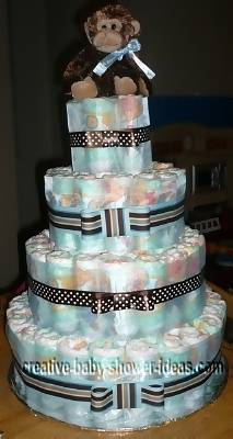 modern blue and brown monkey diaper cake
