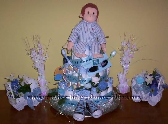 blue monkey pajamas carriage diaper cake