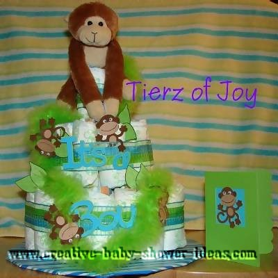 green and blue stripes monkey diaper cake