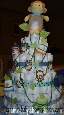 swinging vines monkey diaper cake