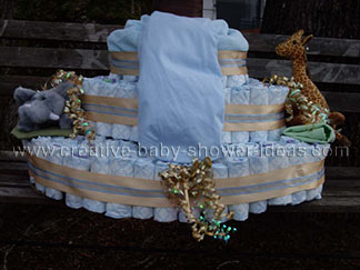 base of huge monkey diapers cake