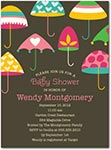 brown baby shower invitation with colorful umbrellas