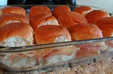 ham and cheese sliders before cooking