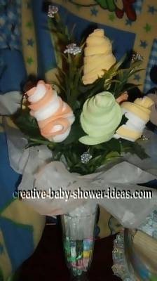 yellow and green baby sock roses