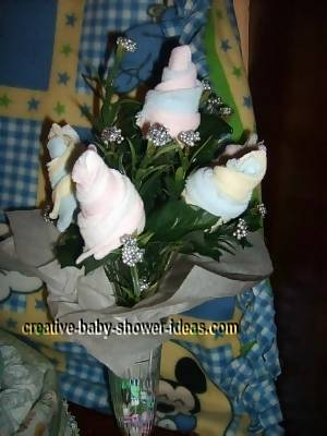 blue and yellow baby sock roses