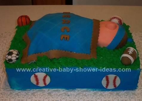 side sports ball cake showing blue sides and football decorations