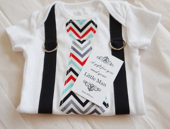baby onesie with striped tie and suspenders