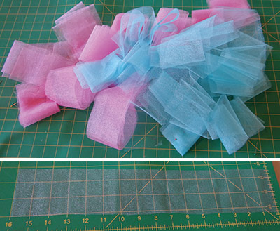 pile of cut strips for making a baby tutu