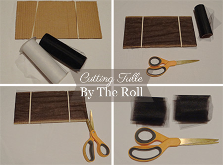 step by step photos showing how to cut tulle off of a roll