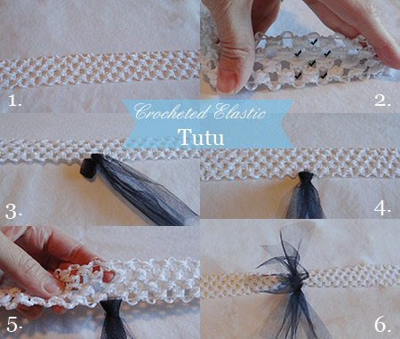 step by step photos on how to make a baby tutu using a crocheted elastic waistband