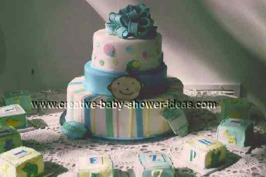 blue stripes and polka dots baby blocks cake