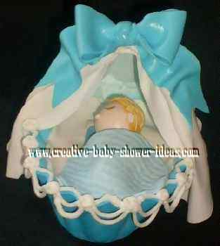 blue and white baby bassinet cake topper