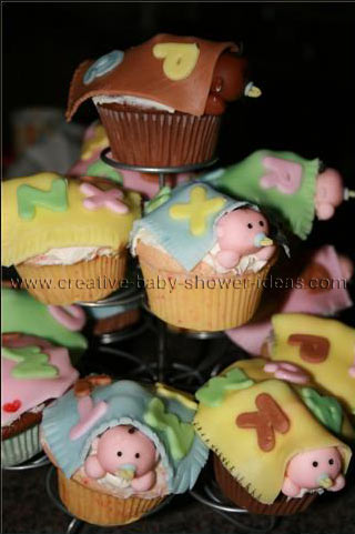 baby shower blanket cupcakes