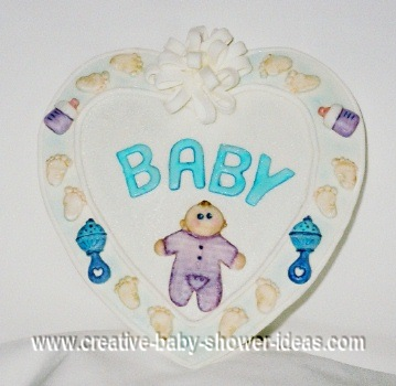 edible baby plaque heart cake