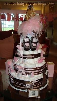 back of barbie princess diaper cake