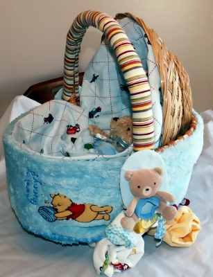 blue baby basket carriage gift