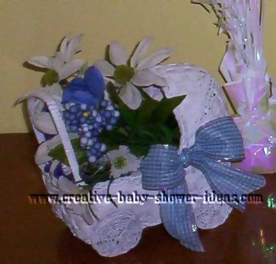 baby shower bassinet carriage centerpiece