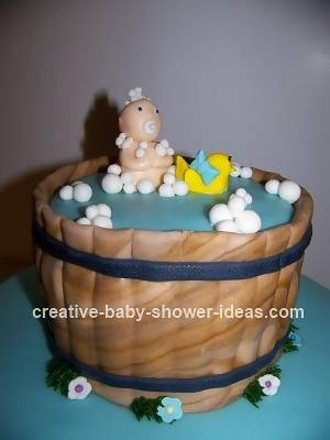 closeup of Baby in a Bath Tub Cake