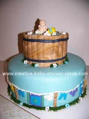 Baby Bathtub Cake with clothesline