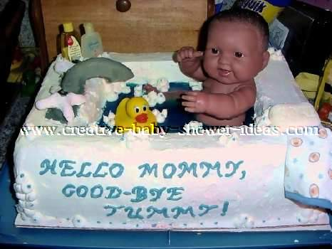 Baby Doll In A Baby Shower Bathtub Cake