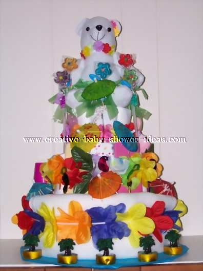 colorful hawaiian bear diaper cake