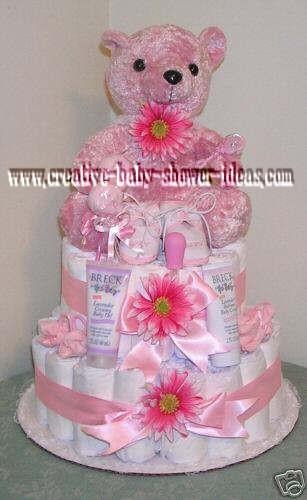 pink bear daisy diaper cake