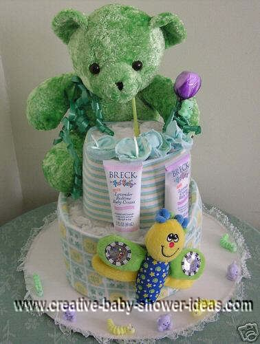 green bear diaper cake