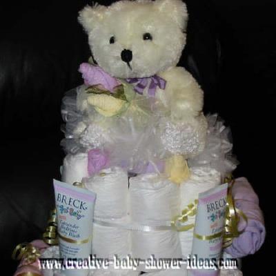 lavendar ballerina bear diaper cake