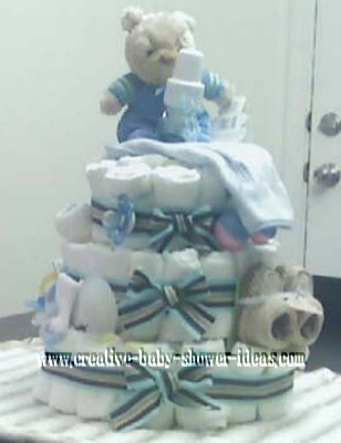 blue striped bear diaper cake