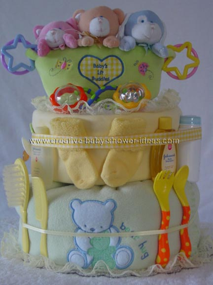 baby bath buddies bear diaper cake